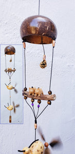 Snails and pigs wood craving ,outdoor or indoor,UV/weatherproof,nylon string,feather wind spinner