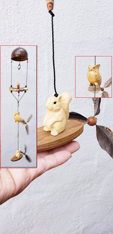Squirrel & Owl  wood craving mobile with wind spinner /weatherproof, indoor or outdoor.