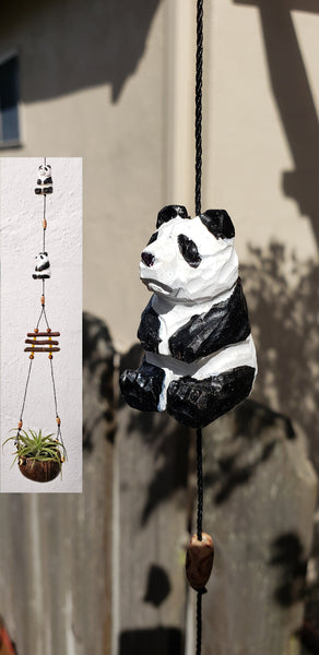 Panda bear wood craving hanging airplant ,indoor or outdoor,tiny coconut shell ,hand painted .