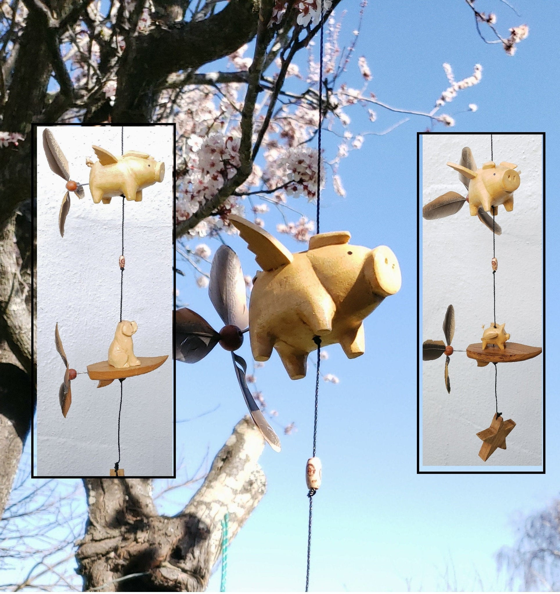 Outdoor wind chimes , wood craving Fying pig -Dog srufboard ,changeble feather spinner.