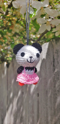 Panda bear finished doll ,strap ornament ,hand crochet amigurumi  ,acrylic yarn