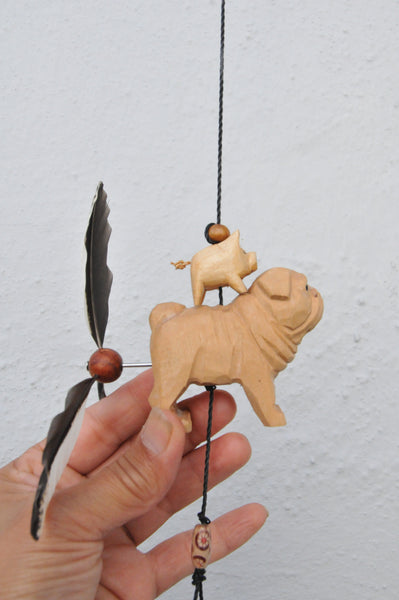 Pug Dog and pig ,wood carving ,outdoor or indoor ,ceiling /patio decor ,ornament
