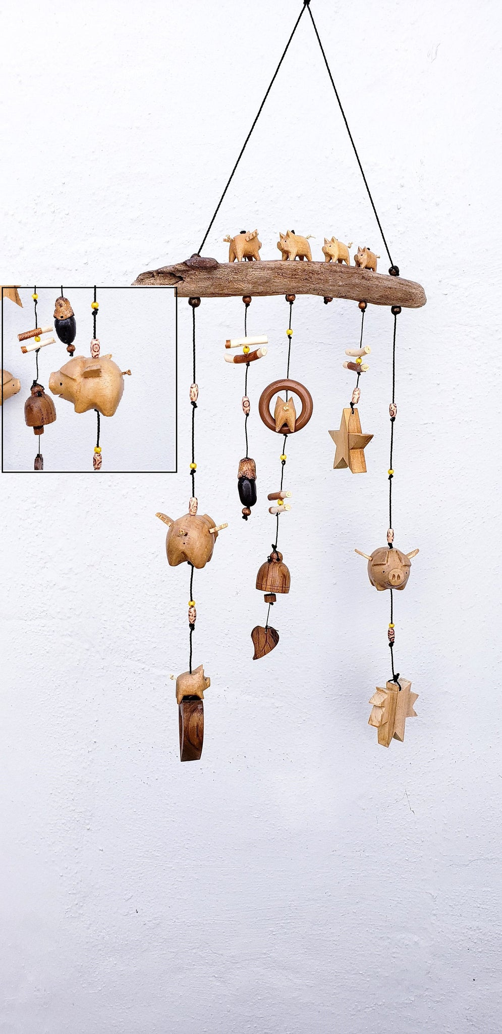 Flying pigs mobile outdoor or indoor decoration ,wood craving UV ,weatherproof.