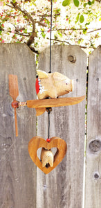 Flying pig outdoor wind spinner ,weatherproof ,choices of wood or feather spinner.