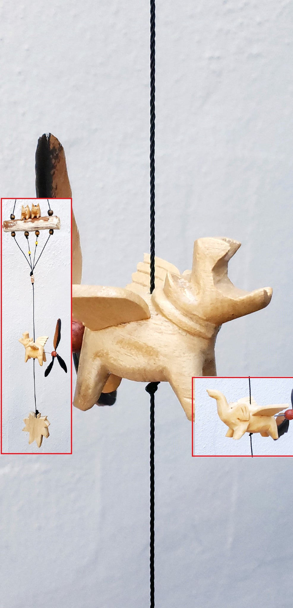 Flying Hippo,Fling Dumbo, with two little pigs, wood craving with  propellers wind spinner.weatherproof.