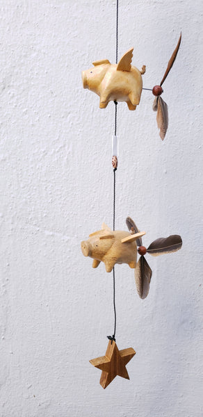 Flying pig ,wood craving ,outdoor or indoor mobile weatherproof ,removable feather spinner  (custom order)