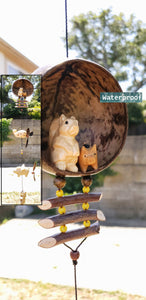 Squirrel , pig ,snail, wood carving ,coconut outdoor patio decor ,weatherproof.