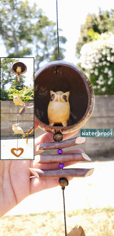 Owl ,outdoor mobile , UV&waterproof ,craving wood white pine,coconut , with changeable feather spinners