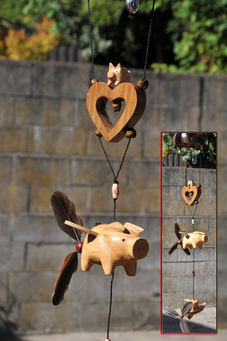 Flying pigs, wood  heart, coconut shell , real feather  wind spinner outdoor or indoor mobile ,removable feather spinner  (custom order)
