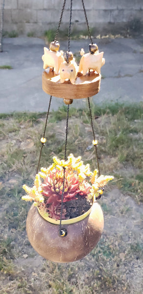 "Flying pig Ring family mobiles hanging planter,UV/Weather proof ,"" CUSTOM ORDER."""