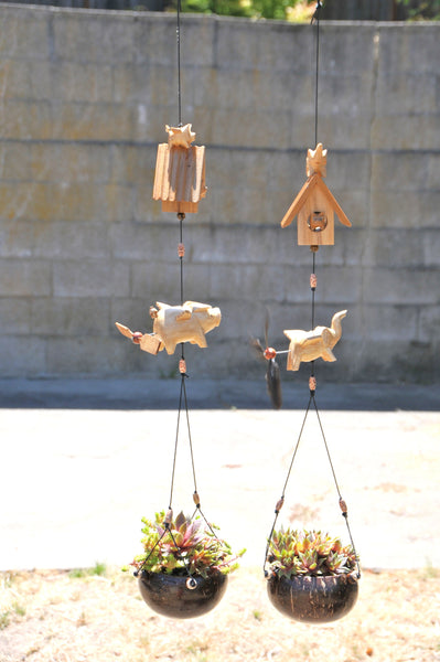 Flying pig and Elephant hanging planter , outdoor or indoor mobile ,removable  spinner
