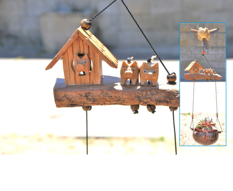 Flying pig wood craving outdoor or indoor mobile ,removable feather spinner, coconut sell pot.(Custom order)