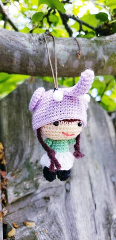 "Elephant hat Amigurumi finished doll girls , elephant hat ornament , 2"" tall 100% hand made ,tiny Acrylic yarn"