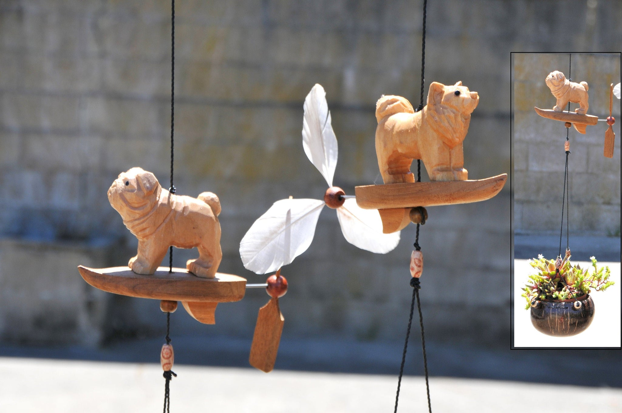 Dogs,pigs whale , wood craved Hanging planter ,UV proof ,Weatherproof,wind spinner,removable spinner.