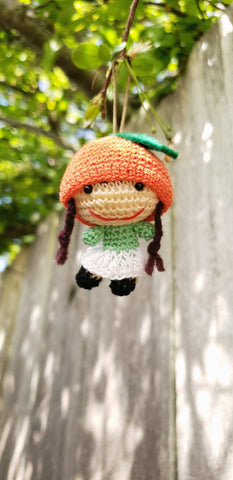 "Steawberry hat Amigurumi finished dolls ornament , 2"" tall,  hand crochet"