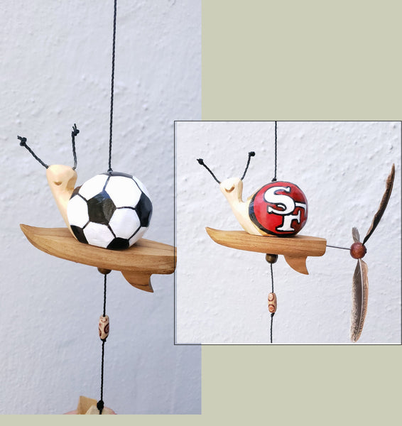 49ers/Soccer snail surfbroad  ,hand painted ,wood craving weatherproof with wind spinner