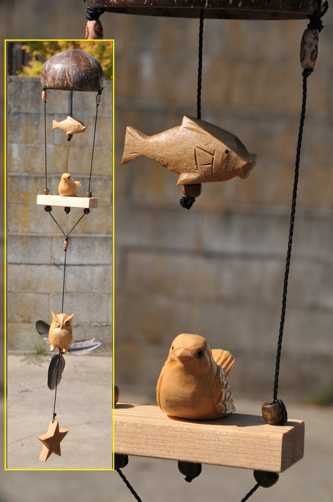 Owl ,Fish ,Bird ,outdoor mobile  UV&waterproof ,carved wood white pine,coconut shell ,