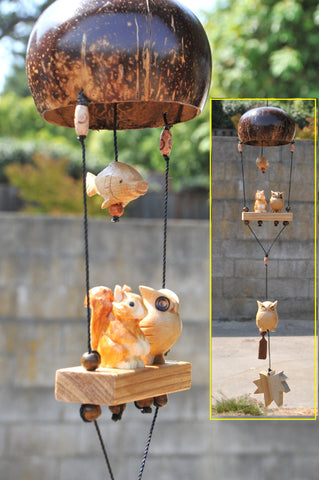 Owl ,Fish ,squirrel ,outdoor mobile plant pot, UV&waterproof ,carved wood white pine,coconut shell