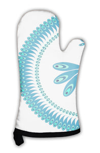 Oven Mitt, Peacock Decorative Pattern For Plate