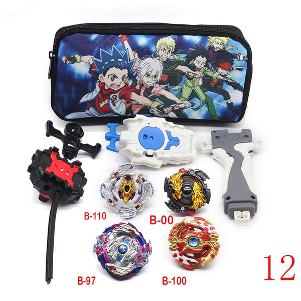 Beyblade Launchers With 4 Burst Metal Fusion Beyblades And Travel Bag