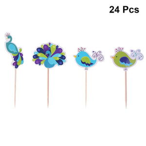 24pcs Peacock Cupcake Toppers