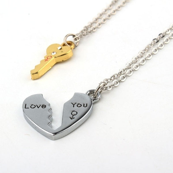 Silver Plated Couples Key Pendant Necklace