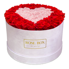 Load image into Gallery viewer, Extra Large Pink Velvet Box with Red and Pink Roses shaped in a Heart