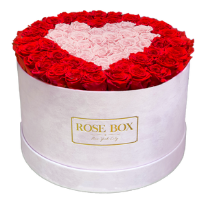 Extra Large Pink Velvet Box with Red and Pink Roses shaped in a Heart