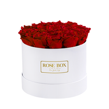 Load image into Gallery viewer, White box with Red flame Roses