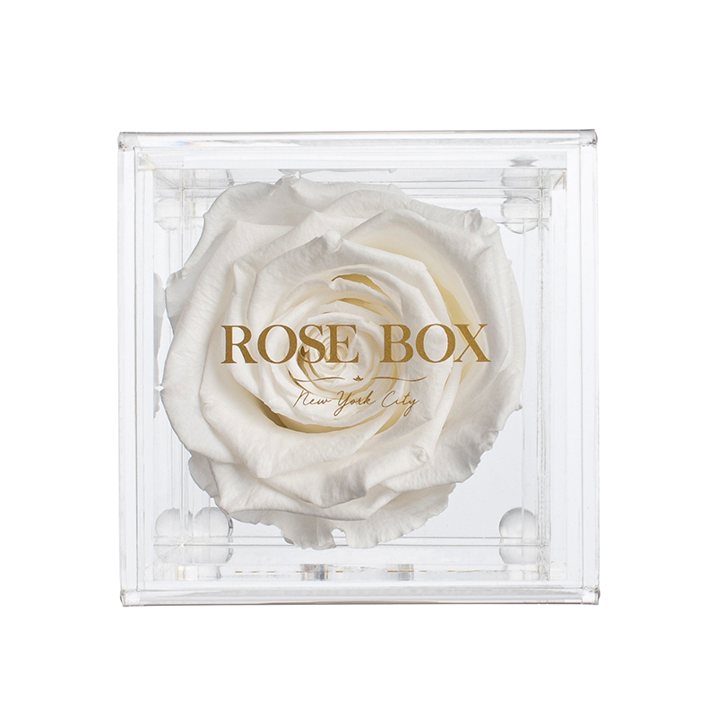 White Flame Rose Jewelery Box (Small or Medium)