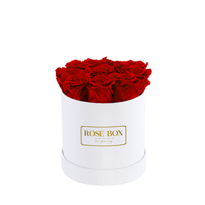 White box with Red flame Roses