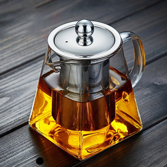 350/550/750/950ML Glass Teapot Heat Resistant Square Glass Teapot With Tea Infuser Filter And Lid Stovetop Loose Leaf Tea Maker
