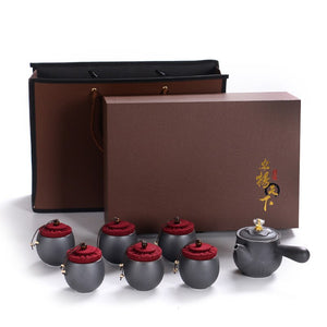 Portable Ceramic Tea Set Chinese Kung Fu Tea Set Tea Ceremony Retro One Pot Six Cup Tea Set Business Gift Gift Box Packaging