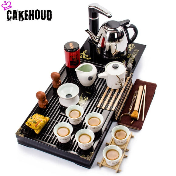 CAKEHOUD Chinese Tea Ceramic Kung Fu Tea Set Tea Tray Set Ceramic Tea Cup Teapot Cover Bowl Tea Pet Tea Ceremony Accessories