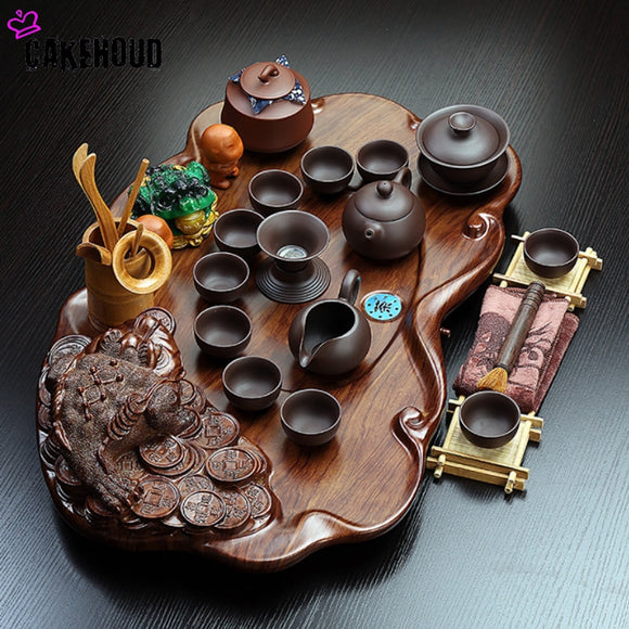 Chinese Tea Ceremony Solid Wood Tea Tray Drainage Water Storage Tea Tray Ceramic Kung Fu Tea Set Coffee Table Table Service Tray