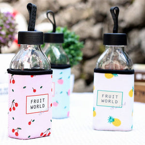350ml Korean Water Bottle Sports Portable Drinks Bottle Universal Travel Coffee Mug Cloth Cover Glass Bottle Anti-Scalding Glass