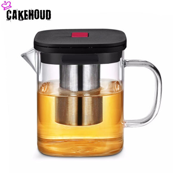 CAKEHOUD High Temperature Glass Bubble Teapot High Borosilicate Square Flower Tea Coffee Pot With Soak Filter Cover Tea Set