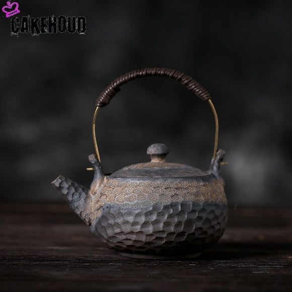 CAKEHOUD 230ml Handmade Japanese Retro Teapot Ceramic Kungfu Teapot Large Capacity Pu'er Tea Container Drinking Utensils