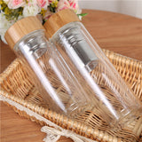 Portable Double-Wall Glass Tea Bottle Travel Drinkware Herbal Tea Infuser for Loose Leaf Glass Tumbler Stainless Steel Filters