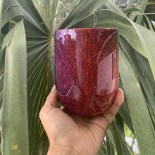 Load image into Gallery viewer, plum, red, glitter, ombre, 12oz wine tumbler