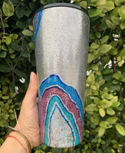 Load image into Gallery viewer, silver, blue, pink, teal, glitter, geode 32oz tumbler