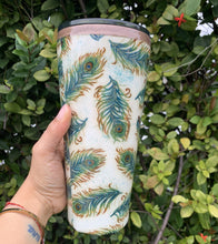 Load image into Gallery viewer, peacock, fabric, 32oz tumbler