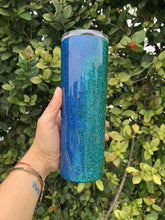 Load image into Gallery viewer, blue, glitter, turquoise, 20oz skinny tumbler, ombre