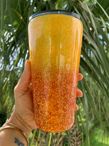 16oz Orange Ombré Glitter Tumbler