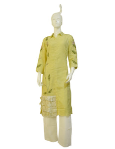 Lemon Yellow Women's Suit With Lower