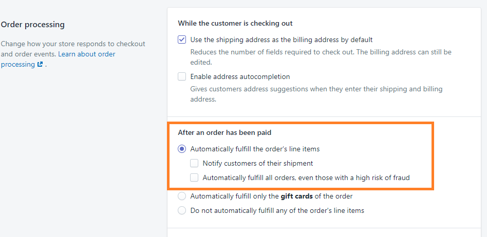 Order Processing Automatic Fulfillment