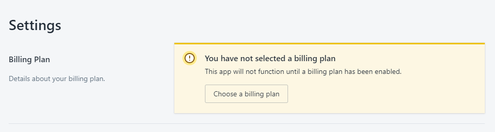 Select Billing Plan