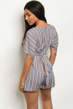 Load image into Gallery viewer, Blue Stripe Romper