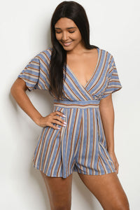 Blue Stripe Romper