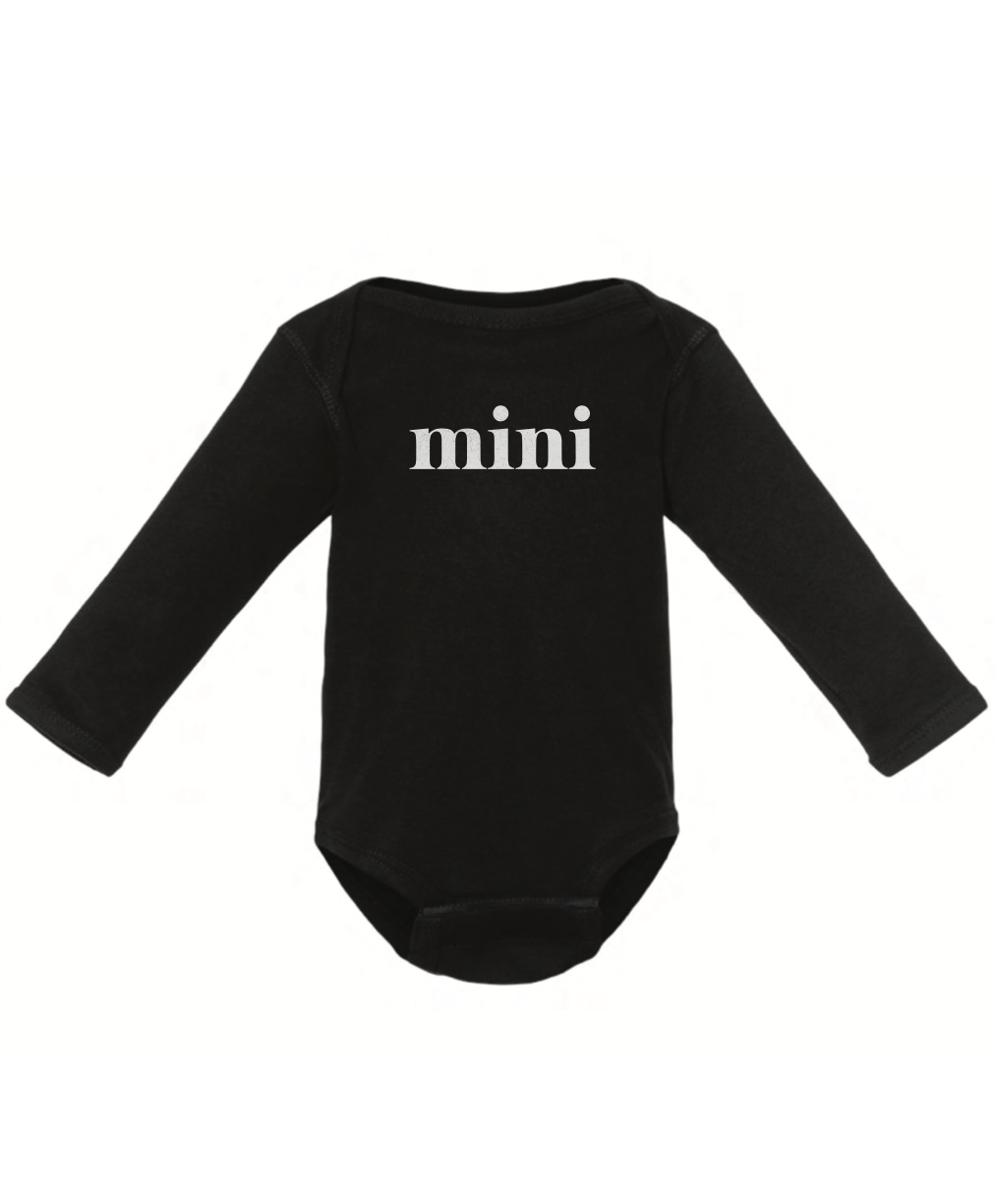 Mini - Infant Long Sleeve Onesie - Black